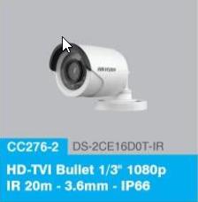 """HD-TVI Bullet 1/3"""" 1080p IR 20m - 3.6mm - IP66"""
