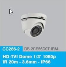 "HD-TVI Dome 1/3"" 1080p IR 20m - 3.6mm - IP66"