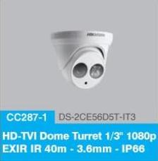 "HD-TVI Dome Turrent 1/3"" 1080p EXIR IR 40m - 3.6mm - IP66"