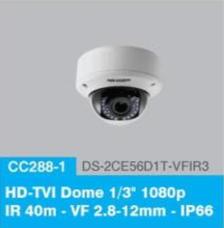 "HD-TVI Dome 1/3"" 1080p IR 40m - VF 2.8-12mm - IP66"